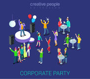 Corporate party. Holiday event team building flat 3d web isometric infographic human relations HR concept vector template. Group young men girls dancing Vector Illustration