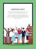 Happy People in Office on Vector Illustration Royalty Free Stock Images