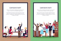 Web Page of People Partying Vector Illustration Royalty Free Stock Photo