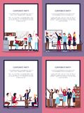 Corporate Party Set of Four Vector Illustration Royalty Free Stock Images
