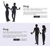 Corporate Party Set of Posters Vector Illustration stock illustration