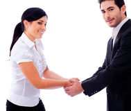 Corporate people hold their hands each other Stock Images