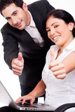 Corporate people showing thumbs up Stock Images