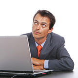 Corporate person using laptop Royalty Free Stock Images
