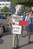 Corporate Personhood Costume and Sign at a Moral Monday Rally Stock Images