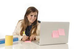 Corporate portrait young attractive businesswoman at office chair working at laptop computer desk Royalty Free Stock Photos