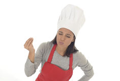 Corporate portrait of young attractive hispanic home cook woman in red apron posing happy and smiling isolated Stock Photography