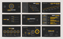 Corporate presentation slides design. Creative business proposal or annual report. Full HD vector keynote infographics template on. Black layout. Startup Royalty Free Stock Photos