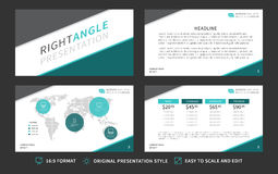 Corporate presentation vector template. Modern business presentation 16:9 format graphic design. Minimalistic layout with infographic, front page, content page Royalty Free Stock Photo