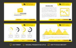 Corporate presentation vector template. Modern business presentation 16:9 format graphic design. Minimalistic layout with infographic, front page, content page Stock Images