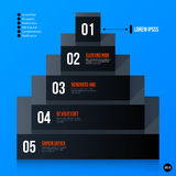 Corporate pyramid chart template on bright blue background Royalty Free Stock Images