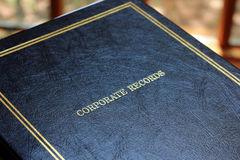 Corporate Records Book. A closed black Corporate Records book with gold trim Royalty Free Stock Image