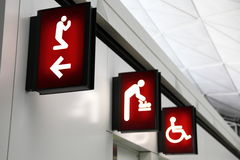 CORPORATE SIGNS. Prayer, feeding and disability room in Hong Kong Airport Stock Image