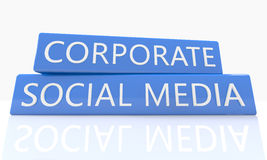 Corporate Social Media. 3d render blue box with text Corporate Social Media on it on white background with reflection Royalty Free Stock Photos