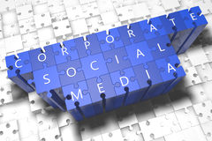 Corporate Social Media. Puzzle 3d render illustration with block letters on blue jigsaw pieces Stock Photos