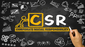 Corporate social responsibility concept hand drawing on blackboa Royalty Free Stock Photo