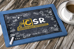 Corporate social responsibility concept hand drawing on blackboa Stock Photo