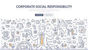 Corporate Social Responsibility Doodle Concept stock photography