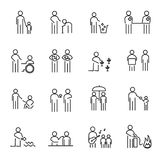 Corporate Social Responsibility people thin line icon set vector. CSR charity project for helping world an people concept. Sign and Symbol theme. White Stock Images