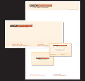 Corporate Stationery and Card. Template for generic, simple corporate business card, stationery and envelope Royalty Free Stock Photo