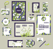 Corporate style business templates. Set of spring floral design. Snowdrops seamless pattern included in EPS royalty free illustration