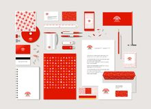 Corporate style with geometrical figures. The neutral corporate style with geometrical figures, points and the abstract sign. Samples of business cards, a disk Stock Illustration