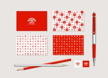 Corporate style with geometrical figures. The neutral corporate style with geometrical figures, points and the abstract sign. Samples of business cards, a pen, a Stock Illustration