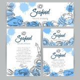 Identity template with hand drawn seafood Royalty Free Stock Photography
