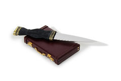 Corporate Takeover. Daggers in collection made of various metals, Burgandy leather Briefcase Stock Image