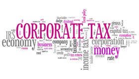 Corporate tax. Finance issues and concepts tag cloud illustration. Word cloud collage concept Stock Photography