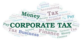 Corporate Tax word cloud. Wordcloud made with text only vector illustration