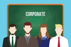 Corporate team business illustration stand together aligning on front of green board Stock Photography