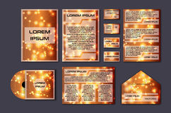 Corporate template set with glowing abstract layout. Vector company style for brandbook and guideline. Stock Photography