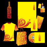 Corporate templates with fire. Vector set of yellow corporate templates with fire (can be used for alcohol company, bar of night club Stock Photography
