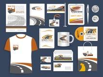 Corporate templates for road construction company. Brand or company corporate vector templates for safety road construction or repair corporation, transportation stock illustration