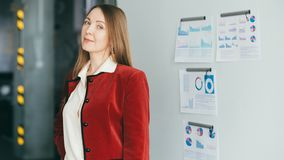 Corporate training sales analysis business coach. Advanced corporate training. Sales analysis. Confident coach business lady ready for meeting. Infographics on stock photo