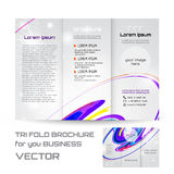 Corporate Tri Fold Brochure, curl and swirl bright line, vector illustration Royalty Free Stock Image