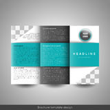 Corporate tri-fold business brochure template. With company logo and place for photo Royalty Free Stock Images