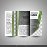 Corporate tri-fold business brochure template. With company logo and place for photo Royalty Free Stock Photos
