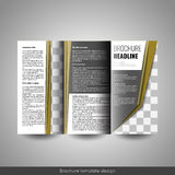 Corporate tri-fold business brochure template. With company logo and place for photo Stock Images