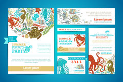 Corporate underwater sea life templates set. Vector cartoon design elements. A4 paper, business cards, banners. Whale and dolphin, octopus and turtle, fish and Royalty Free Stock Photo