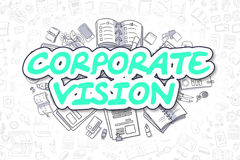 Corporate Vision - Cartoon Green Text. Business Concept. Stock Images