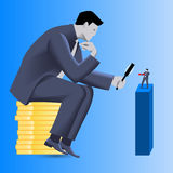 Corporate vs small business competition concept. Huge businessman sitting on pile of gold coins looks via magnifier on brave small businessman in boxing gloves Stock Images