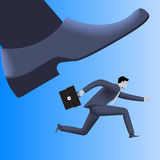 Corporate vs small business competition concept. Huge foot of corporate business trying to smash small running businessman with case. Vector illustration. Use Stock Images