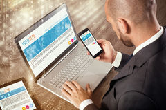 Corporate website on devices Stock Photography