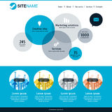 Corporate website template. Modern flat web design. Vector circle background