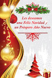 Corporate winter holiday greeting card in Spanish Stock Photography