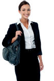 Corporate woman with office bag Royalty Free Stock Photography