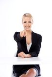 Corporate woman pointing her finger Royalty Free Stock Photos
