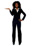 Corporate woman presenting copyspace Royalty Free Stock Photo